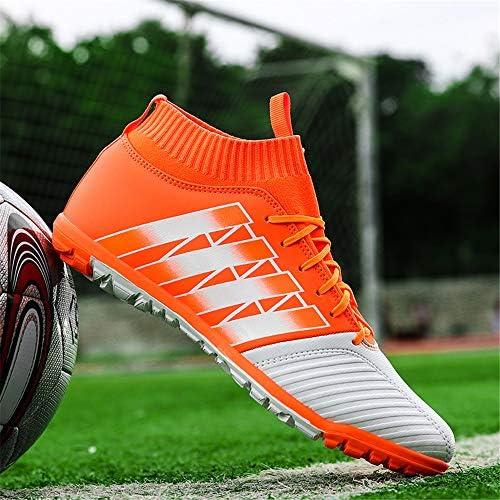 メンズボーイハイアンクルサッカーブーツTFサッカークリート屋外芝生子供のスポーツトレーニング芝生ラバーソールサッカーソックスシューズ