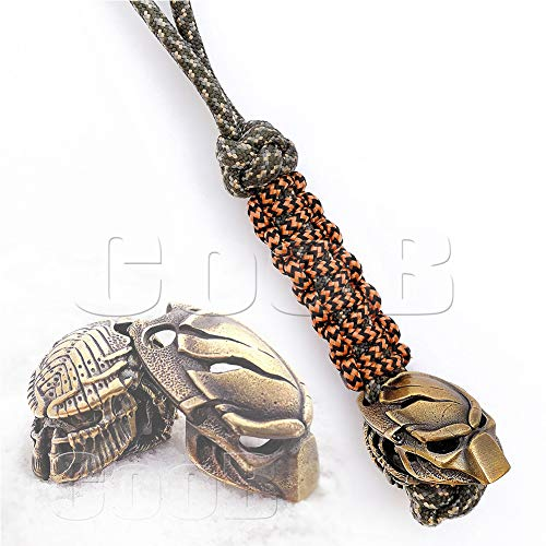 Awesome EDC Survival Paracord Lanyard Keychain Strap Key with Hand Casted Bead Beads Charms Alien & Predator Collection US Military Grade Type III 550 Lb Cord (Predator Broken)