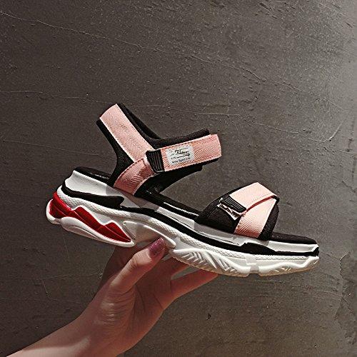 SOHOEOS sandalias de punta abierta mujer verano velcro zapatos de tacón medio mujer nuevos zapatos de plataforma plana mujer zapatos romanos deportes al aire libre ligero informal de secado rápido Rosado