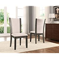 Roundhill Furniture C051GY Kecco Grey Solid Wood Dining Chairs, Set of 2