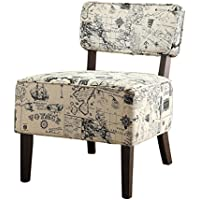 Homelegance 1191F3S Armless Accent Chair, Beige with Vintage Voyage Print Fabric
