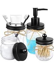 4pcs Rustic Mason Jar Bathroom Accessories Set- Liquid Soap Pump Dispenser and 2 Small Apothecary Storage Glass Jars&Toothbrush Stand Holderfor Bathroom, Farmhouse Home Decor, Kitchen Sink (Black)
