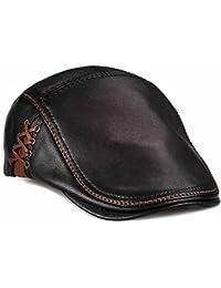Unique Flat Cap Hunting Cowhide Leather Driver Ivy Cap Newsboy Hat Black 7210a162d8a1