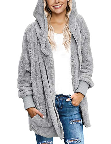 LookbookStore Women's Oversized Open Front Hooded Draped Pocket Cardigan Coat Size S (Fit US 4 - US 6) Light Grey