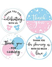 80 Gender Reveal Baby Shower Thank You Stickers, Gender Neutral Baby Shower Thank You Stickers, Pink & Blue Gender Reveal Thank You Sticker(2 Inch)