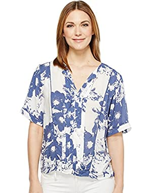 Jeans Womens Printed Lace Inset Blouse