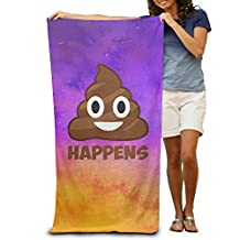 Poop Happens Emoji W:31.5 Inches L: 51.2 Inches Strong Water Absorption Adult Beach Towels