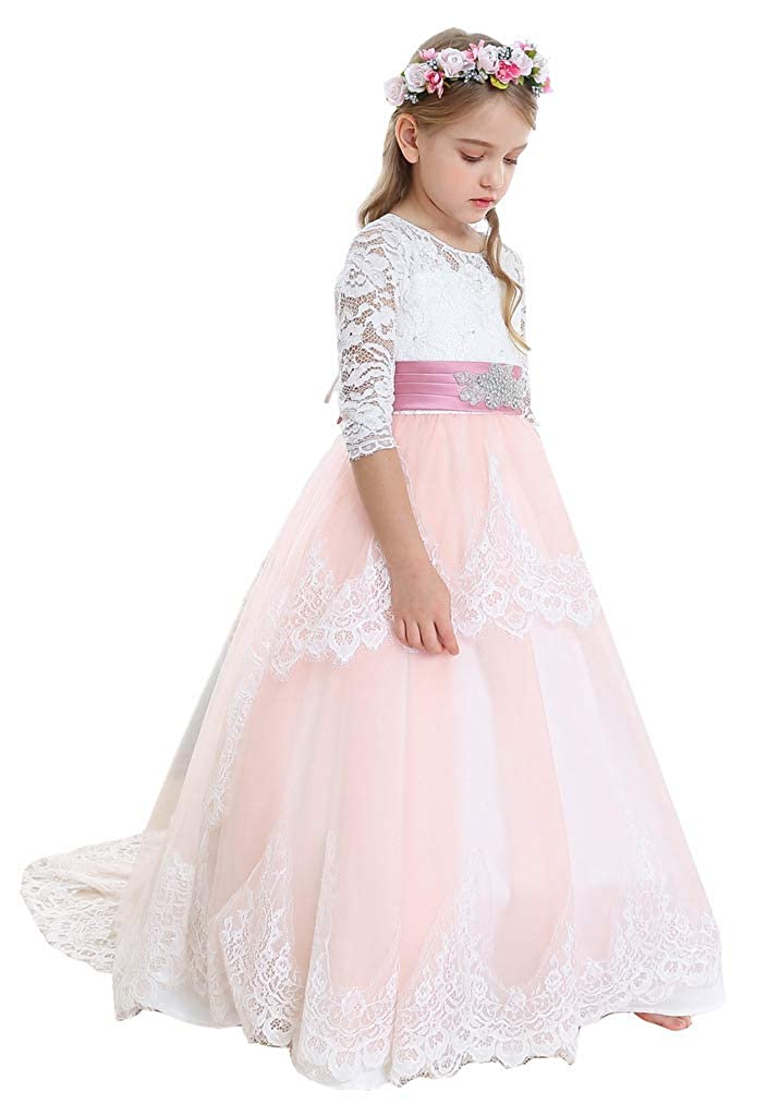bleush Rose 6_ans Bow Dream Robe de Fille d'Honneur Cérémonie de Mariage Tulle Manches Longues