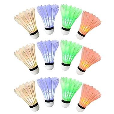 Ohuhu LED Badminton Shuttlecock Dark Night Glow Birdies Lighting For Outdoor & Indoor Sports Activities, 12-piece