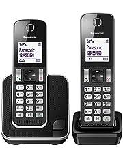Panasonic KX-TGD312 - Teléfono fijo inalámbrico Dúo (LCD, identificador de llamadas, agenda de 120 números, bloqueo de llamada, modo ECO, reducción de ruido), Negro, TGD31 Duo