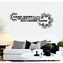 Vinyl Wall Decal Office Quote Hard Work Motivation Decoration Stickers (ig4292) Pink