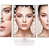 Countertop Mirror Lighted Makeup Mirror with Lights and Magnification 21 LED Vanity Mirror 2X/3X Magnifying Mirrors for Countertop Desktop Cordless Cosmetic Spot Mirror Power by Battery or USB Charging