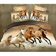 TRUST 100% 3D Galloping Horse Reactive Bedding sets Polyester Fully Reversible Modern Comforter Set, (TWIN)