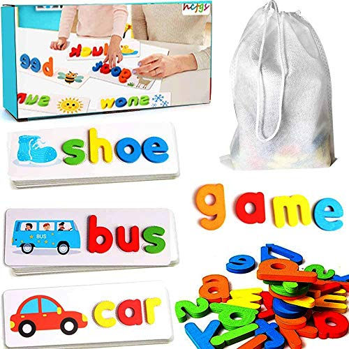 Tangame Sight Words Flash Cards See and Spell Educational Toy Matching Letter Puzzles Montessori Preschool Games for Kids Toddlers 2 3 4 5 6 Year Old(33 Double-Side Cards /& 78 Wooden Alphabet Blocks)