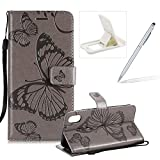 Strap Leather Case for iPhone XR,Wallet Leather Case for iPhone XR,Herzzer Premium Stylish Pretty 3D Gray Butterfly Printed Bookstyle Magnetic Full Body Soft Rubber Flip Portable Carrying Stand Case with Card Holder Slots