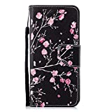 Cfrau Leather Case with Black Stylus for Samsung Galaxy A8 Plus 2018,Cute Design Wallet Flip PU Leather Card Slots Kickstand Hand Strap with Soft TPU Case for Galaxy A8 Plus 2018 - Pink Flower
