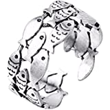 Women Fashion Concise Jewelry Vintage Silver Three Layers Fish Finger Ring WelcomeShop