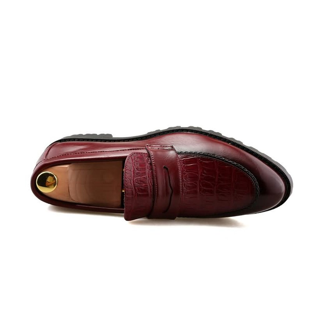 Für die neue Mode Ferse 2018, Herren Oxfords Flache Ferse Mode PU Leder Slip on Schuhe Rot dd4870