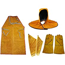 Baoblaze Leather Welders Welding Apron with Gloves Sleeves and Head Cover Workwear