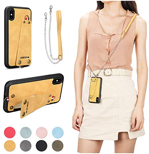 JISON21 iPhone Xs X case with Lanyard, iPhone Xs X Case Crossbody Chain with Credit Card Holder Slot Adjustable Detachable Strap Leather Case for Apple iPhone Xs 5.8