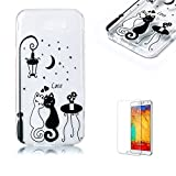 For Samsung Galaxy J3 Prime Case [with Free Screen Protector].Funyye Crystal Transparent Soft TPU Fashionable Pattern Design Shock Proof Protective Cover Case for Samsung Galaxy J3 Prime-Couple Cats