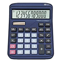 Solar Dual Power Desktop Calculator Office Financial 12 Digits Electronic Calculators