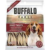 Buffalo Range Rawhide Dog Treats | Healthy, Grass-Fed Buffalo Jerky Raw Hide Chews | Hickory Smoked Flavor | Jerky Twist, 36 Count
