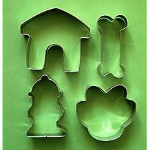 Dog bone house paw hydrant fondant pastry baking cookie cutter 4pcs set