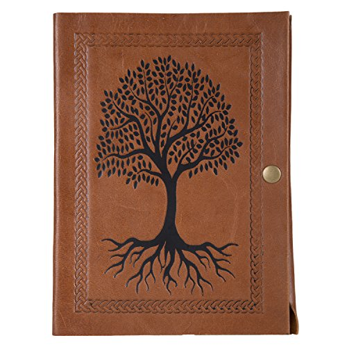 Enew Leather Writing TREE OF LIFE Journal Notebook, Vintage Leather Handmade Diary Blank Unruled Pages Daily Notepad Travel to Write in , Unlined Pape…