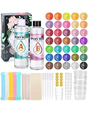 35 Colors Pigment Mica Powders for Resin Supplies with 15.5OZ Crystal Clear Epoxy Resin & Tools Accessories for Beginners DIY Art Craft Casting, Jewelry Making Gifts Kit for Coating Resin Starter