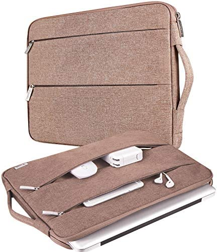 "V Voova 13 13.3 Inch Laptop Sleeve Carrying Case Compatible with MacBook Pro/MacBook Air 13"" 2019 2020/Surface Book 2 13.5""/HP Envy 13 Chromebook Protective Slim Notebook Bags with Handle,Khaki"