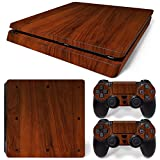 Ps4 Slim Playstation 4 Console Skin Decal Sticker Wood Brown + 2 Controller Skins Set (Slim Only)