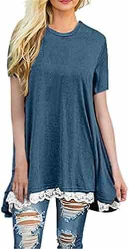faeac8b3ee8 WILLTOO Womens Tunic Top Stylish O-Neck Dressshirt Short Sleeve Blouse Plus  Size T-