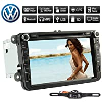 Rearview Camera+8 Inch 2 Din Touch Screen Car DVD Player for VW Volkswagen Jetta Golf 5 6 Skoda Passat Caddy T5 Seat with Can-bus,Bluetooth,GPS,iPod-Input,RDS,Radio,ATV+Free Kudos Map Card