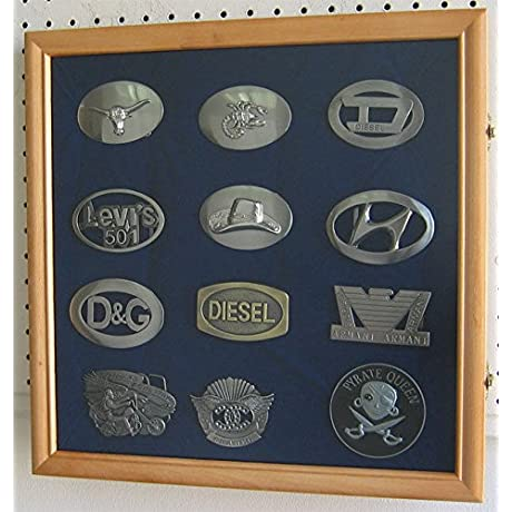 Oak Belt Buckle Display Case Shadow Box Wall Cabinet