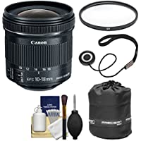 Canon EF-S 10-18mm f/4.5-5.6 IS STM Zoom Lens with Pouch + Filter + Kit for EOS 70D, 7D, Rebel T5, T5i, T6i, T6s, SL1 DSLR Camera