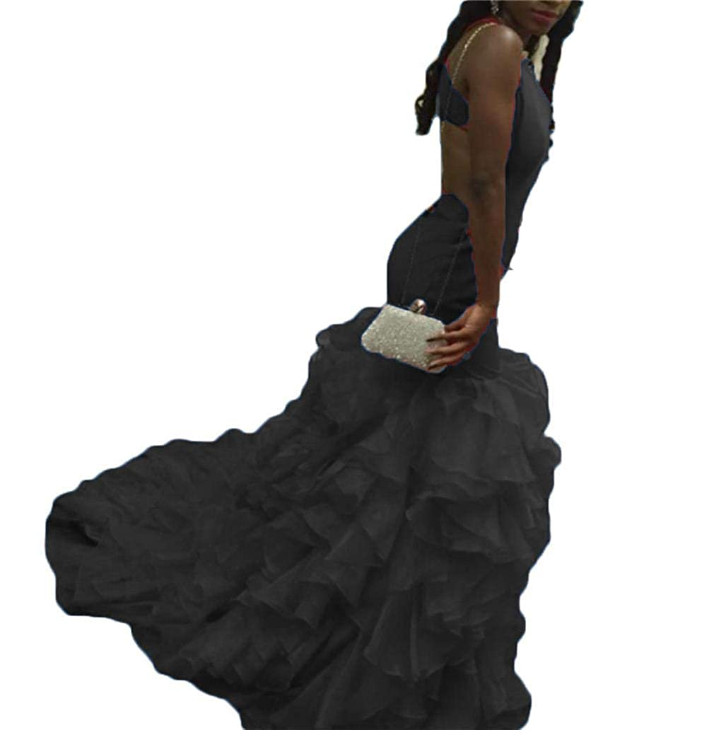 Black Dydsz Women's Sexy Mermaid Long Prom Party Dresses V Neck Backless Plus Size D28