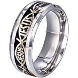 8mm Stainless Steel Titanium Jesus Christian Prayer Women Men Band Ring Size6-13#pimchanok shop (10, black+gold)