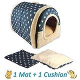 ANPI 2 in 1 Dog House Cat Igloo, Foldable Machine Washable Cat Bed Cave Non-Slip Soft Warm Pet Rabbit House Sofa with Detachable Cushion, 3 Sizes, Multicolour (L, Blue White Stars)