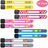 10 Pack Kids Safety ID Wristband Emergency ID Bracelet Anti Lost for Children, Child Safety Name Wrist Bands Strap for Toddlers Identification, Waterproof, Reusable, Labeling, Universal, Mixed Colors.