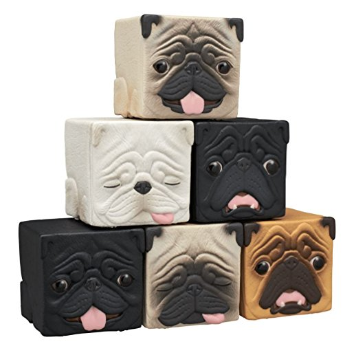 Dog Figurine Collectible (Kitan Club Hako Pug Cube Toy - Blind Box Includes 1 of 6 Collectible Dog Figurines - Stackable Desk Ornament for Kids and Adults - Authentic Japanese Design - Made from Durable Plastic)