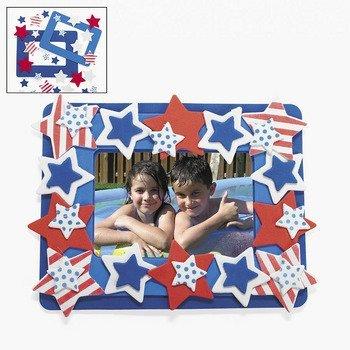Patriotic Photo Frame Magnet Foam Craft Kit - Crafts for Kids-makes 12