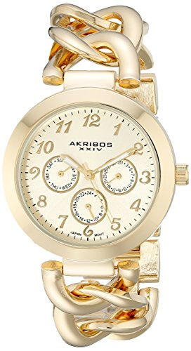 Akribos XXIV Women's AK644YG Ultimate Multi-Function Gold-Tone Twist Chain Link Bracelet Watch