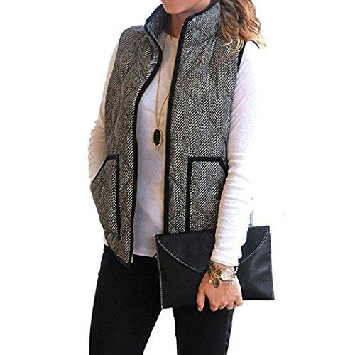 Women's Vest, Mchoice Women Slim Fall Winter Quilted Herringbone Padded Vest With Zipper (XL, Grey)