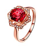 Topdo 1pc Womens Rings Rose Flower Shape Ring Gemstone Ring Natural Red Tourmaline Ring Diamond Ring Plated 18K Gold Flower Ring Size 7# (Rose Gold)
