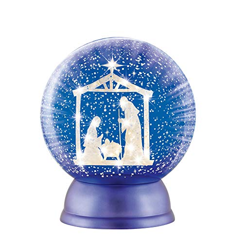 Nativity Scene Snowglobe (Collections Etc Lighted Nativity Scene Snow Globe Tabletop Decoration, Blue and White Christmas Accent)