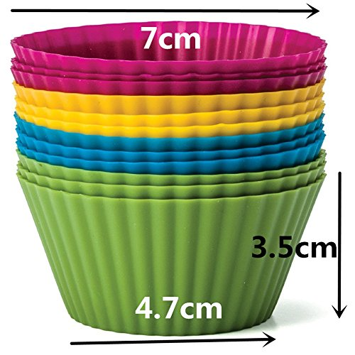 Set of 12 Pieces (1 dozen) Round Shaped Silicon Cake Baking Molds Jelly Mold Silicon Cupcake Pan Muffin Cup