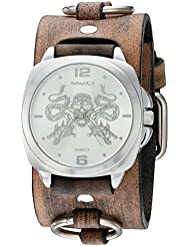 Nemesis Dragon King of Skulls Quartz Stainless Steel and Leather  Watch, Color:Brown (Model: KDFRB910S)