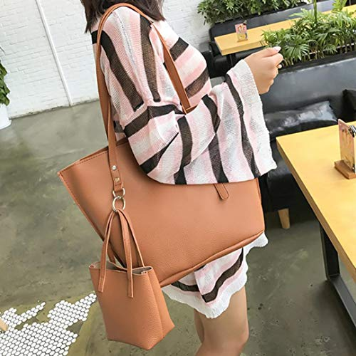 Zipper Wallet Womens Leather Bag BROWN Crossbody Shoulder Handbag 4Pcs Bag Solid Bafatretk Small 1XqwWggca