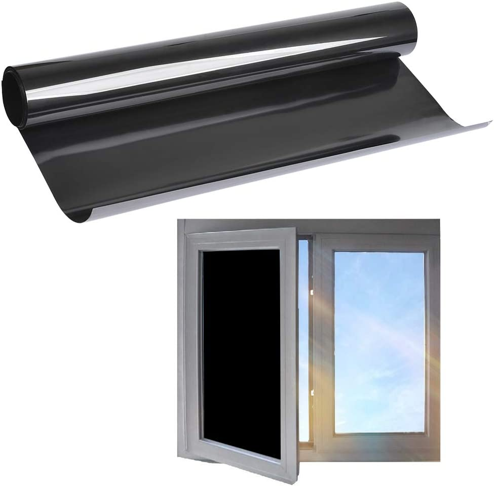 TIMESETL 44.5cm x 2m Pegatina Protectora Solar para Ventanas Negro Opaco Autoadhesiva Protección de la privacidad para Cristal Tinte Anti-UV A Prueba de Ralladuras para Ventana/Puertas/Baño/Balcón